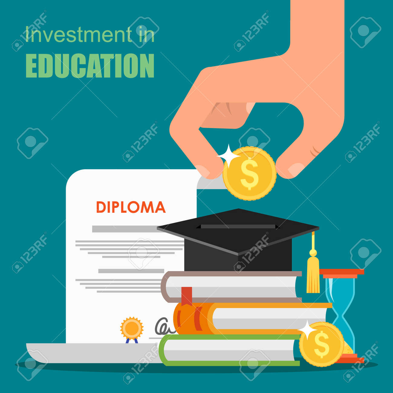 Инвестиции в концепции образования Векторные иллюстрации в стиле  Инвестиции в концепции образования Векторные иллюстрации в стиле плоский дизайн Стопка книг диплом