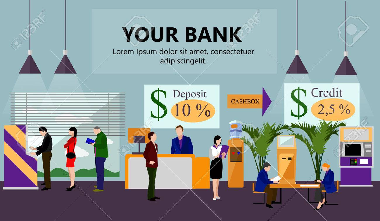 Horizontal vector banner with bank interiors. Finance and money concept. Flat cartoon illustration. Counter desk, cashier, consulting, currency exchange, ATM. - 52473528