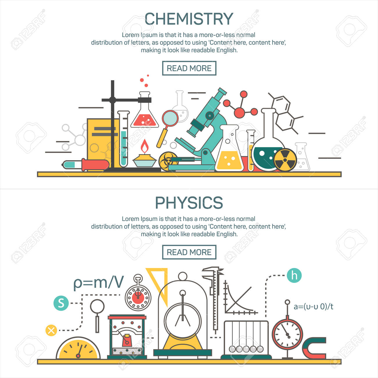 Science banner vector concepts in line style chemistry and physics science banner vector concepts in line style chemistry and physics design elements symbols and ccuart Images