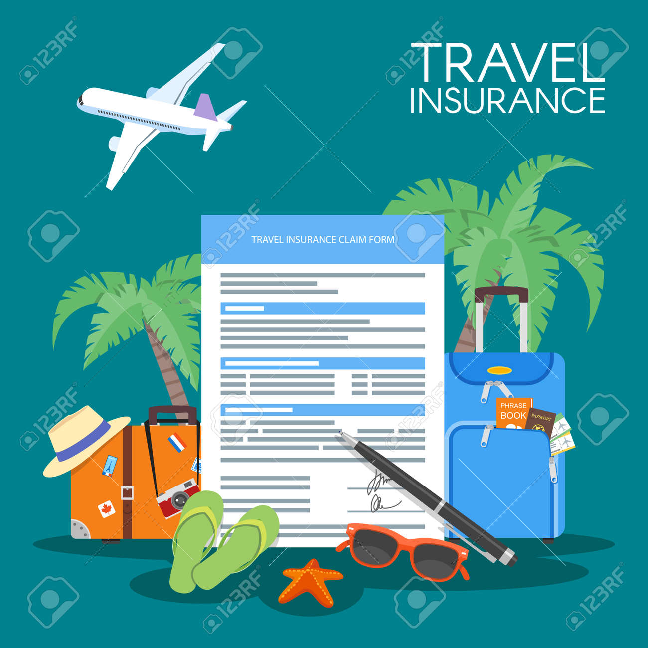 Travel insurance form concept vector illustration. Vacation background, luggage plane, palms. - 53990693