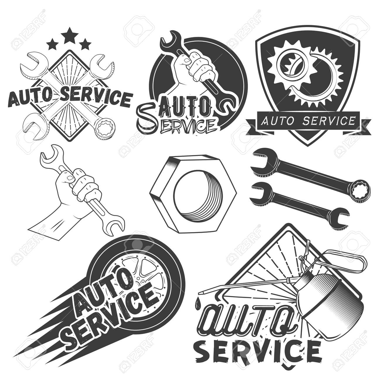 Vector Set Of Auto Service Labels In Vintage Style. Car Repair ...
