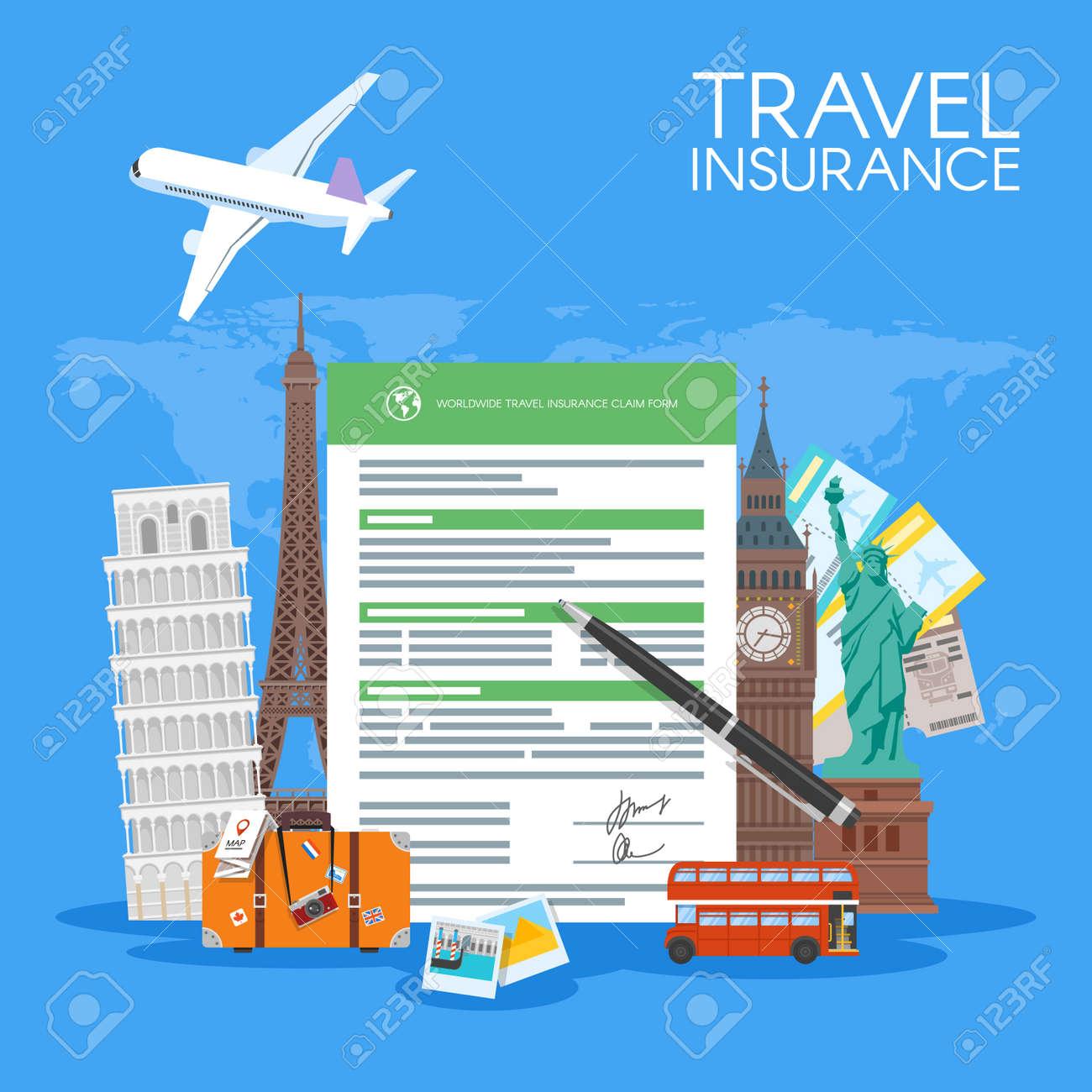 Travel insurance form concept vector illustration vacation travel insurance form concept vector illustration vacation background in flat style stock vector thecheapjerseys Choice Image