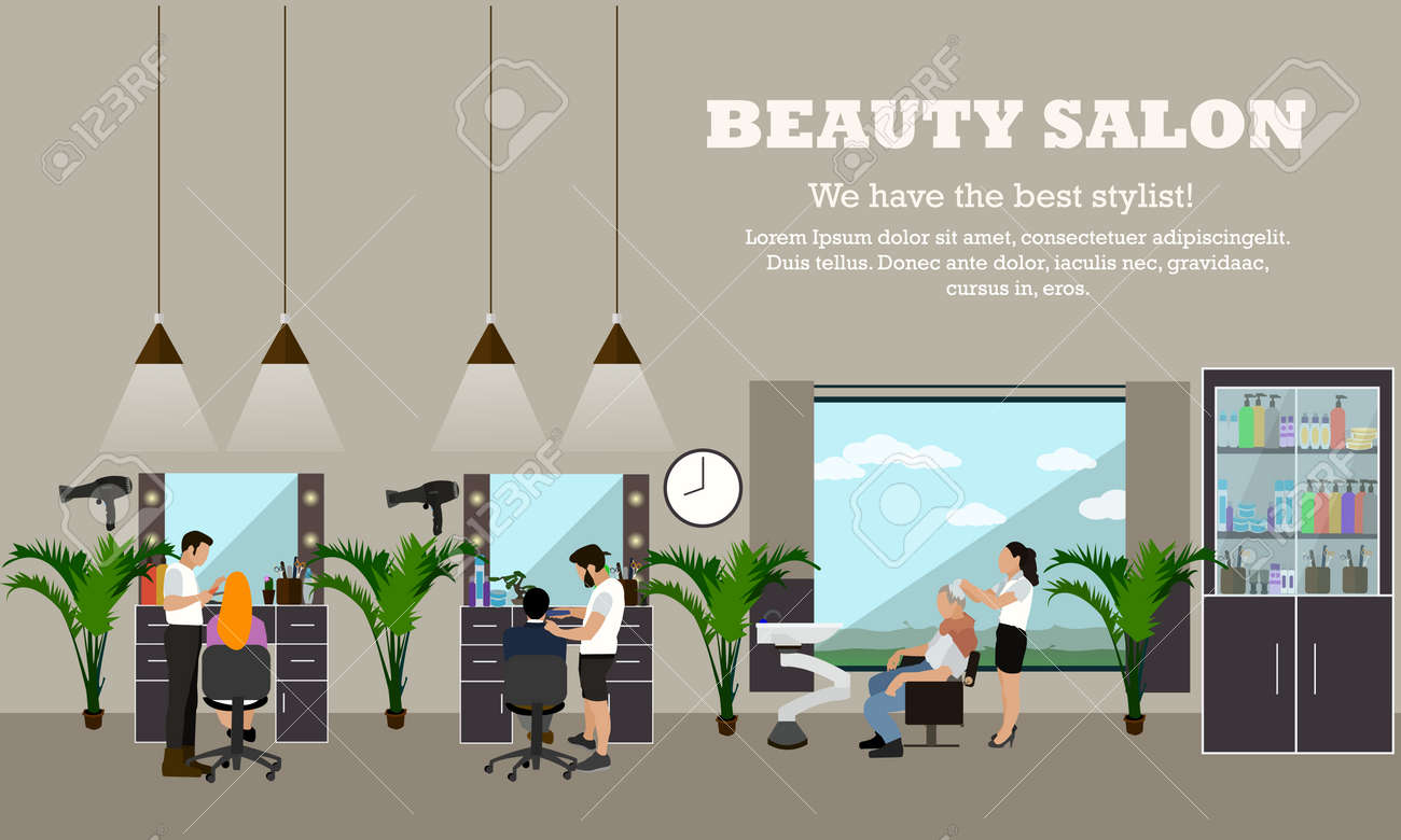 Beauty Salon Interior Vector Concept Banners Hair Style Design Royalty Free Cliparts Vectors And Stock Illustration Image 53990998
