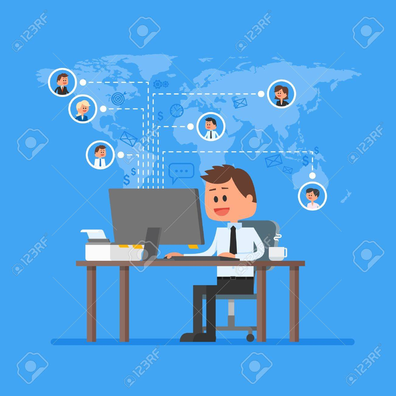 Remote team working concept vector. Work from home illustration in flat style design. Remote business control and project management. Freelance job. Social network and internet friends concept. - 53991131