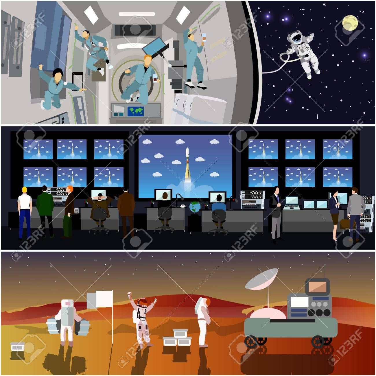 Space mission control center. Rocket launch vector illustration. Astronauts in space station and outer space. Landing to Mars landscape concept. - 53991138