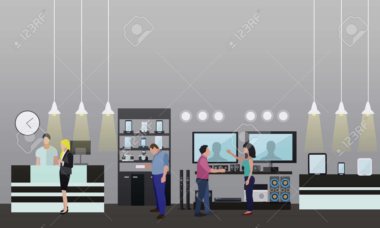 People Shopping In A Mall. Poster Concept. Consumer Electronics ...