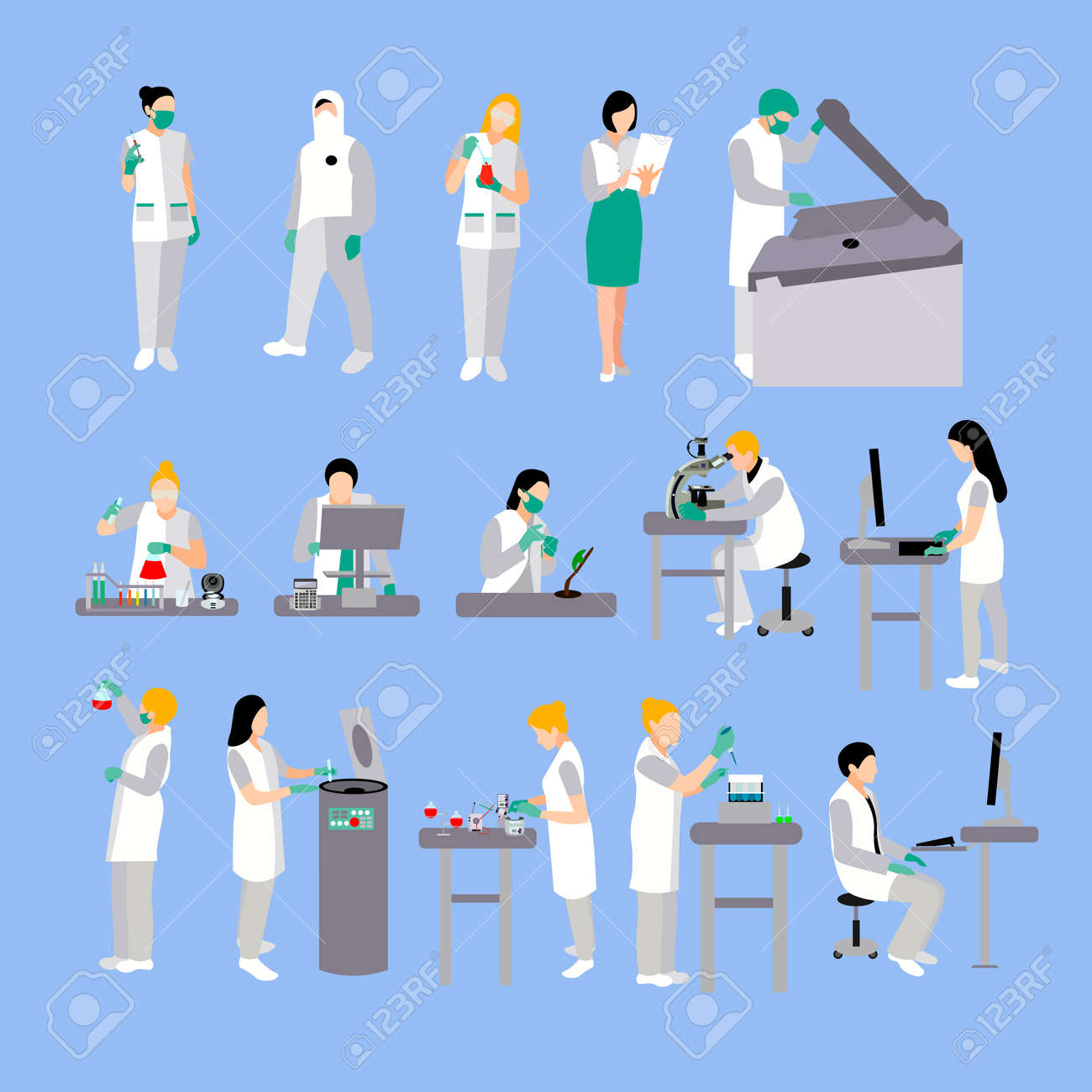 vector set of people in medical laboratory doctors and scientist rh 123rf com Laboratory Signs Laboratory Clip Art