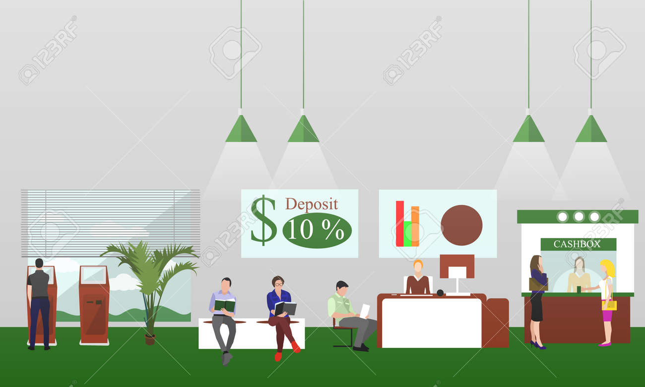 Horizontal vector banners with bank interiors. Finance concept illustration. - 55591584