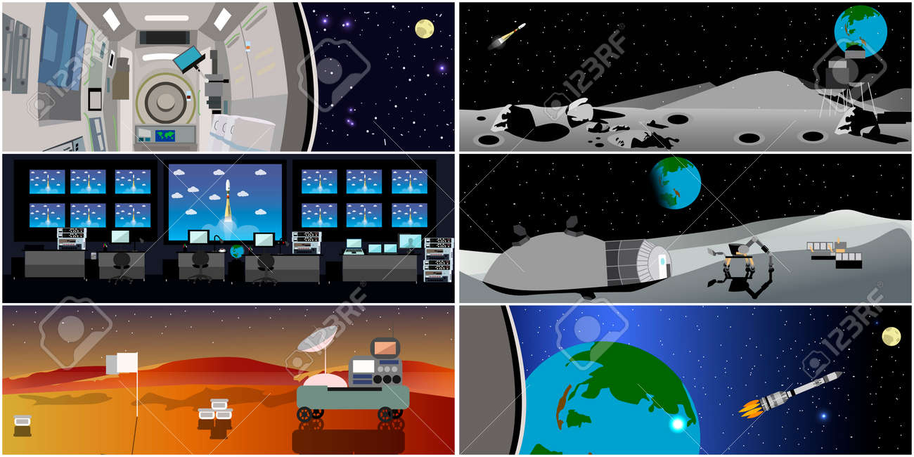 Space mission control center. Rocket launch vector illustration. Space station and outer space. Landing to Mars landscape concept. - 56632964