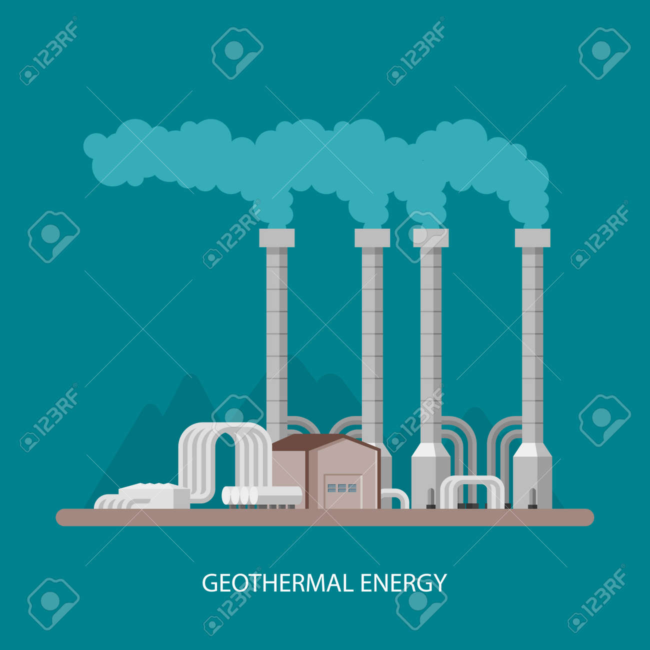 Geothermal power plant and factory. Geothermal energy industrial concept. Vector illustration in flat style. Geothermal station background. Renewable energy sources. - 56633195