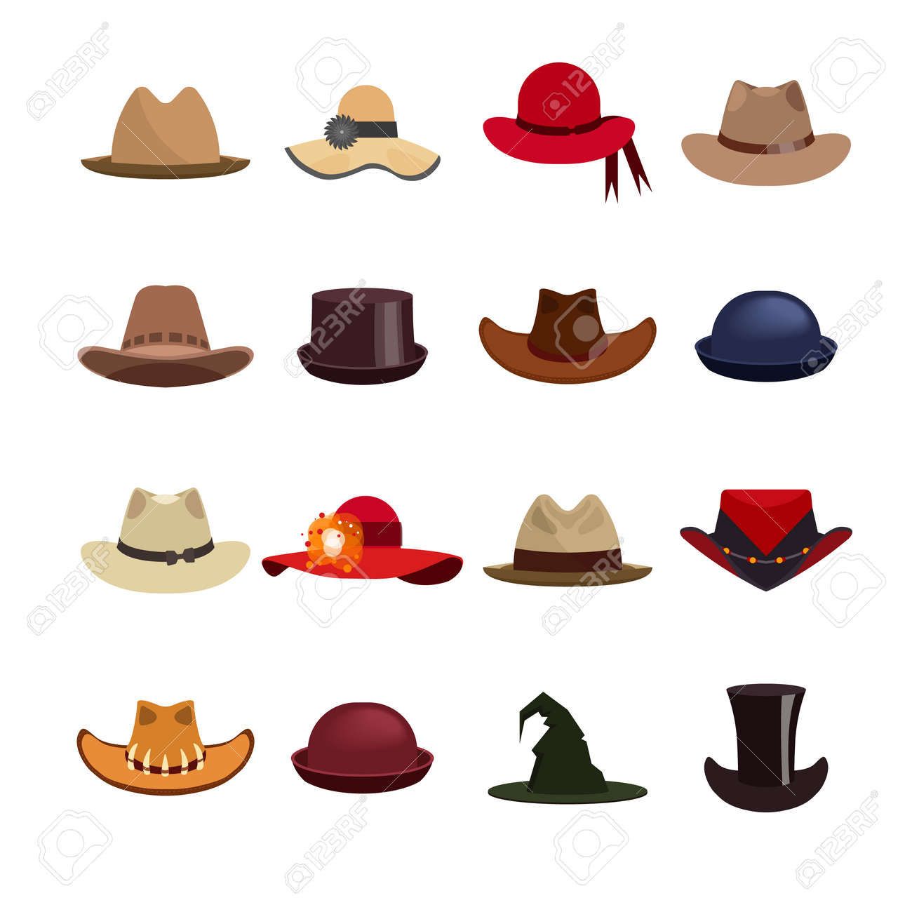 Vector - Vector set of man and woman hats. Illustration with different types  of hats d2915a977b7
