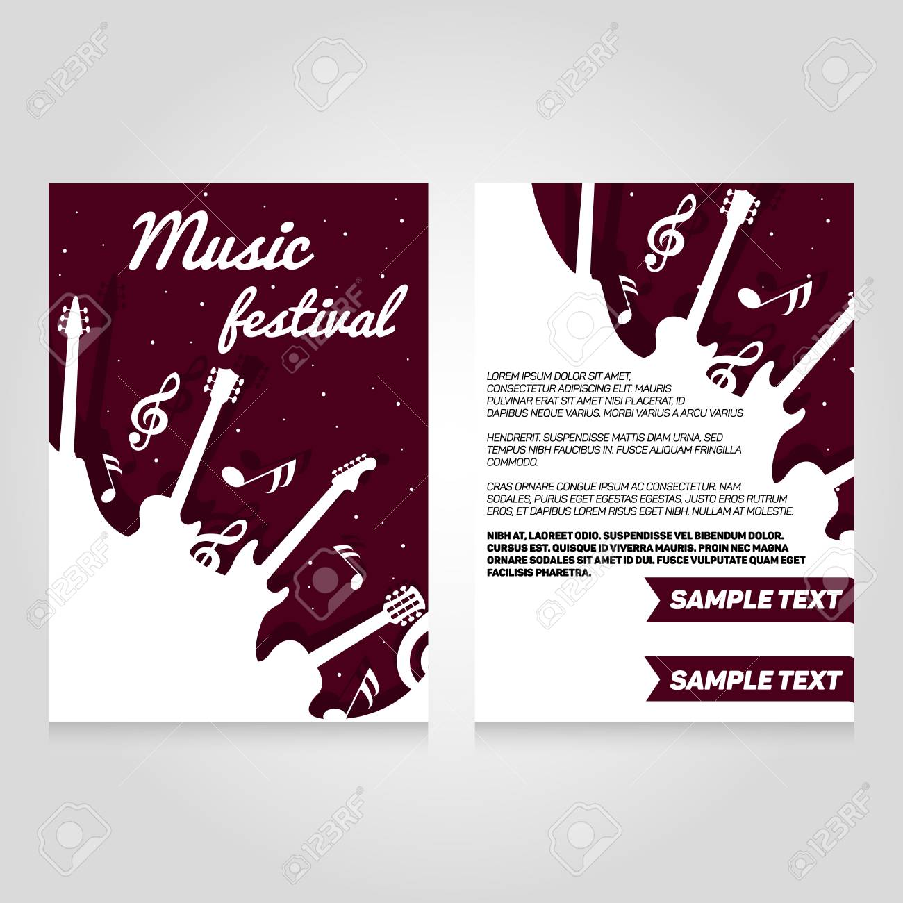 music festival brochure flier design template vector concert