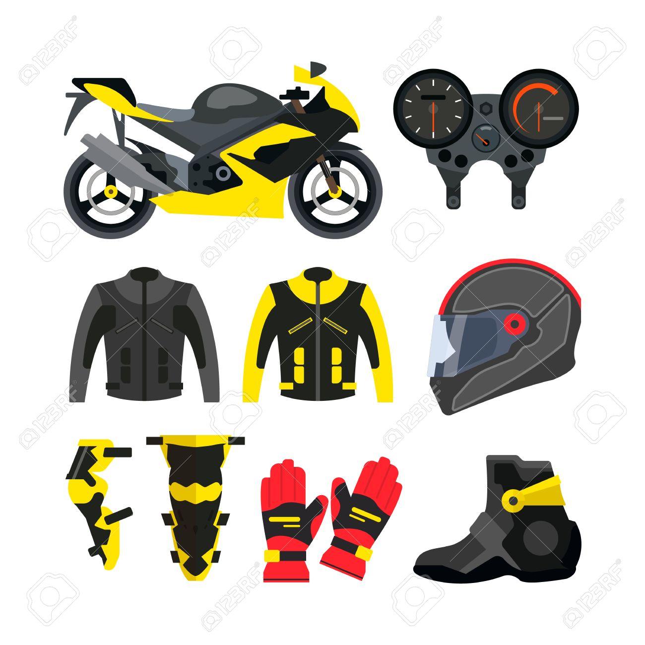 4b15837749fa2 Foto de archivo - Vector conjunto de accesorios de la motocicleta.  Elementos de diseño y iconos aislados sobre fondo blanco. moto deportiva
