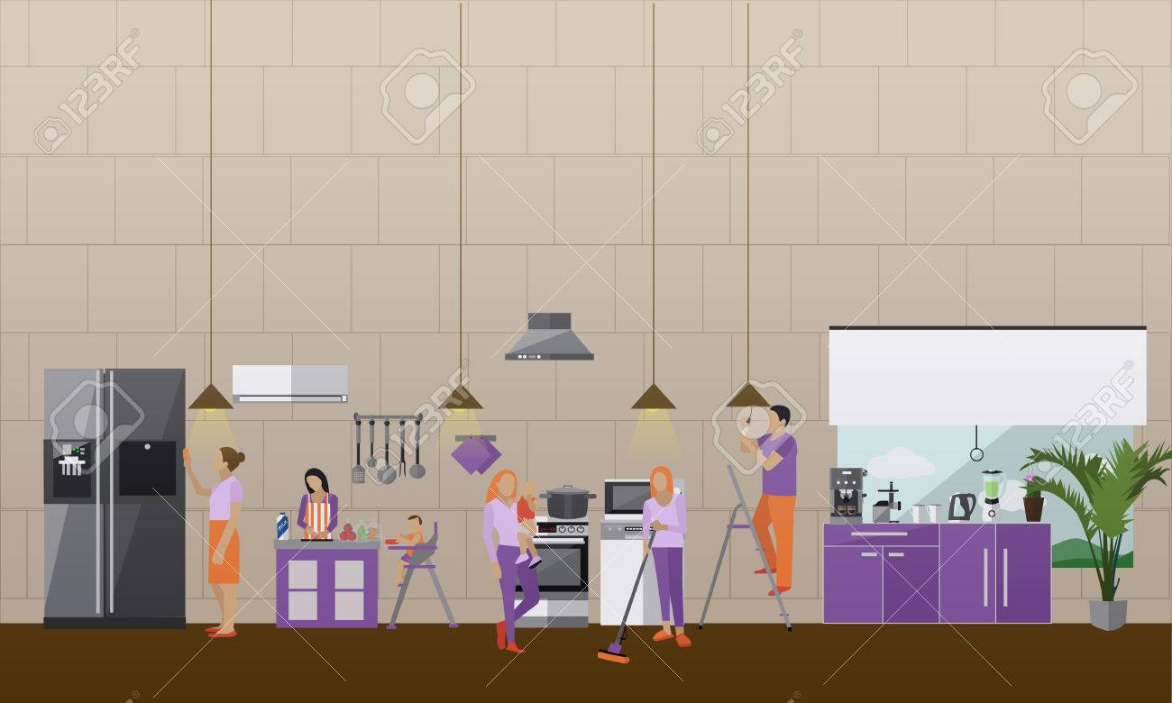 Cleaning Service Concept Vector Banner People Cleaning House Royalty Free Cliparts Vectors And Stock Illustration Image 59919955