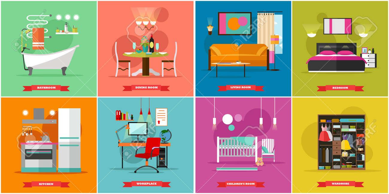 Inicio Ilustración Vectorial Entre En Estilo Plano. Diseño De La ...