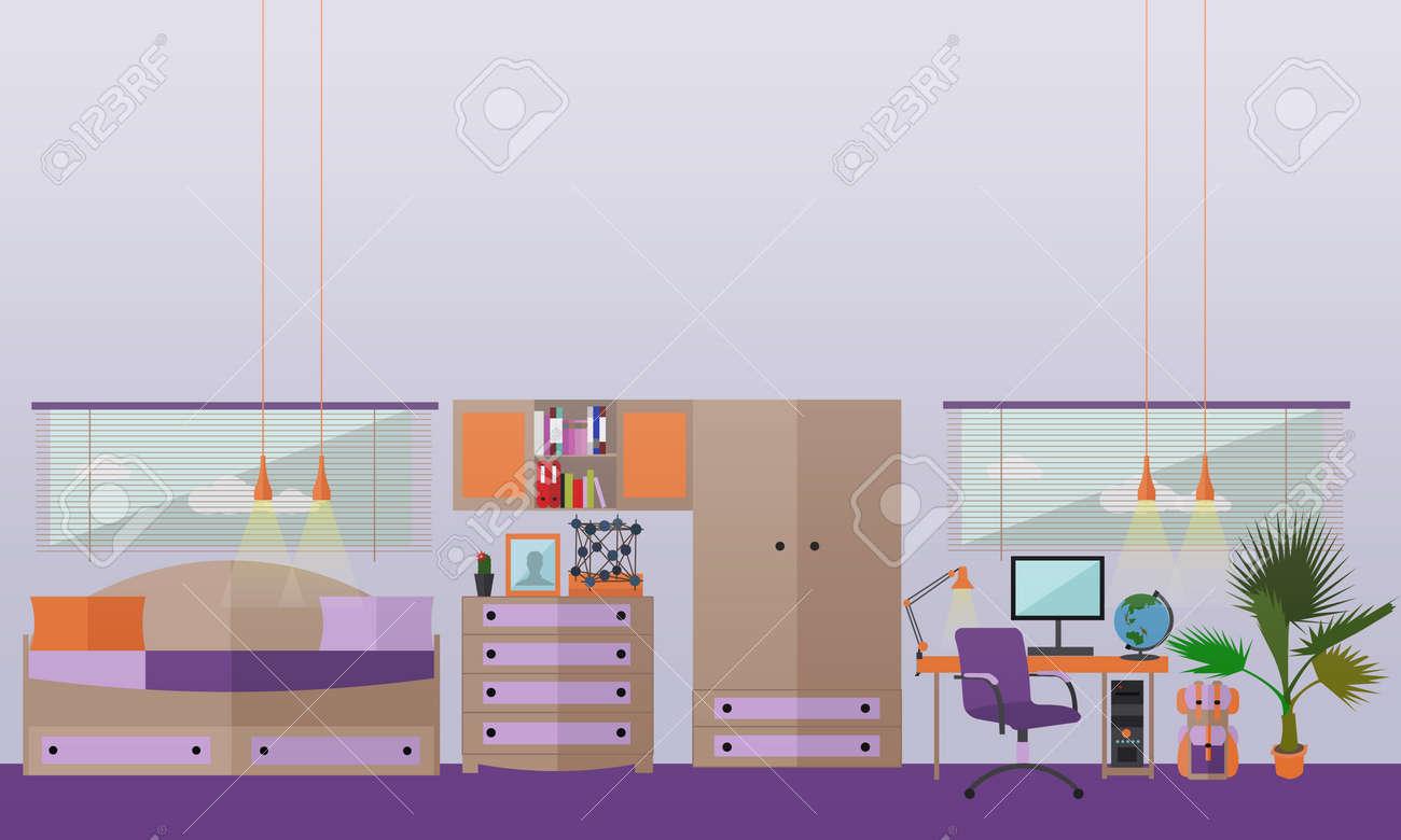 60047919 Teenager Schlafzimmer Interieur Objekte in flachen Stil Vektor Illustration Haus Zimmer Design Eleme Lizenzfreie Bilder Inspirierend Teenager Schlafzimmer Designs Xzw1