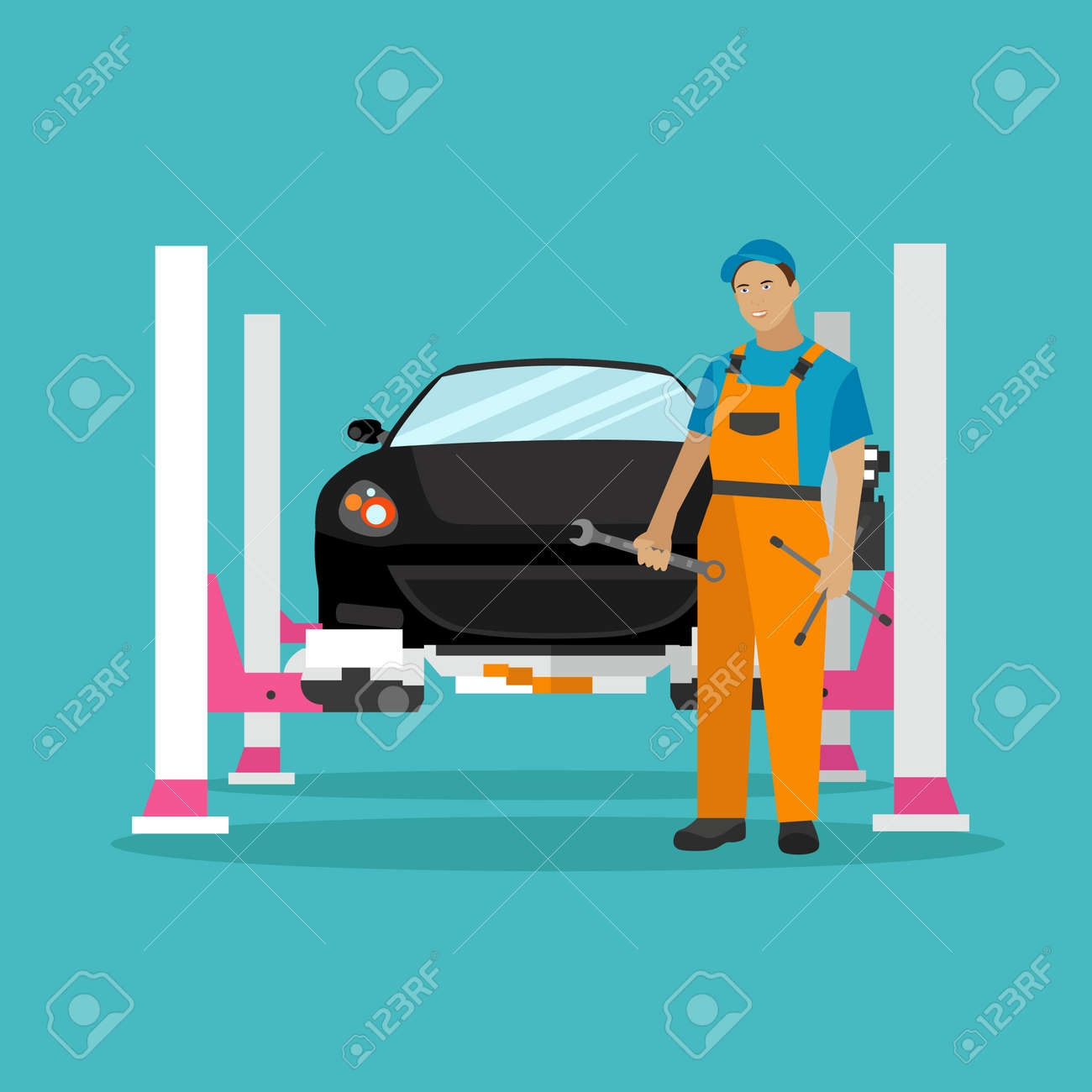 Car Repair Shop Concept Vector Illustration In Flat Style Design Royalty Free Cliparts Vectors And Stock Illustration Image 60048996