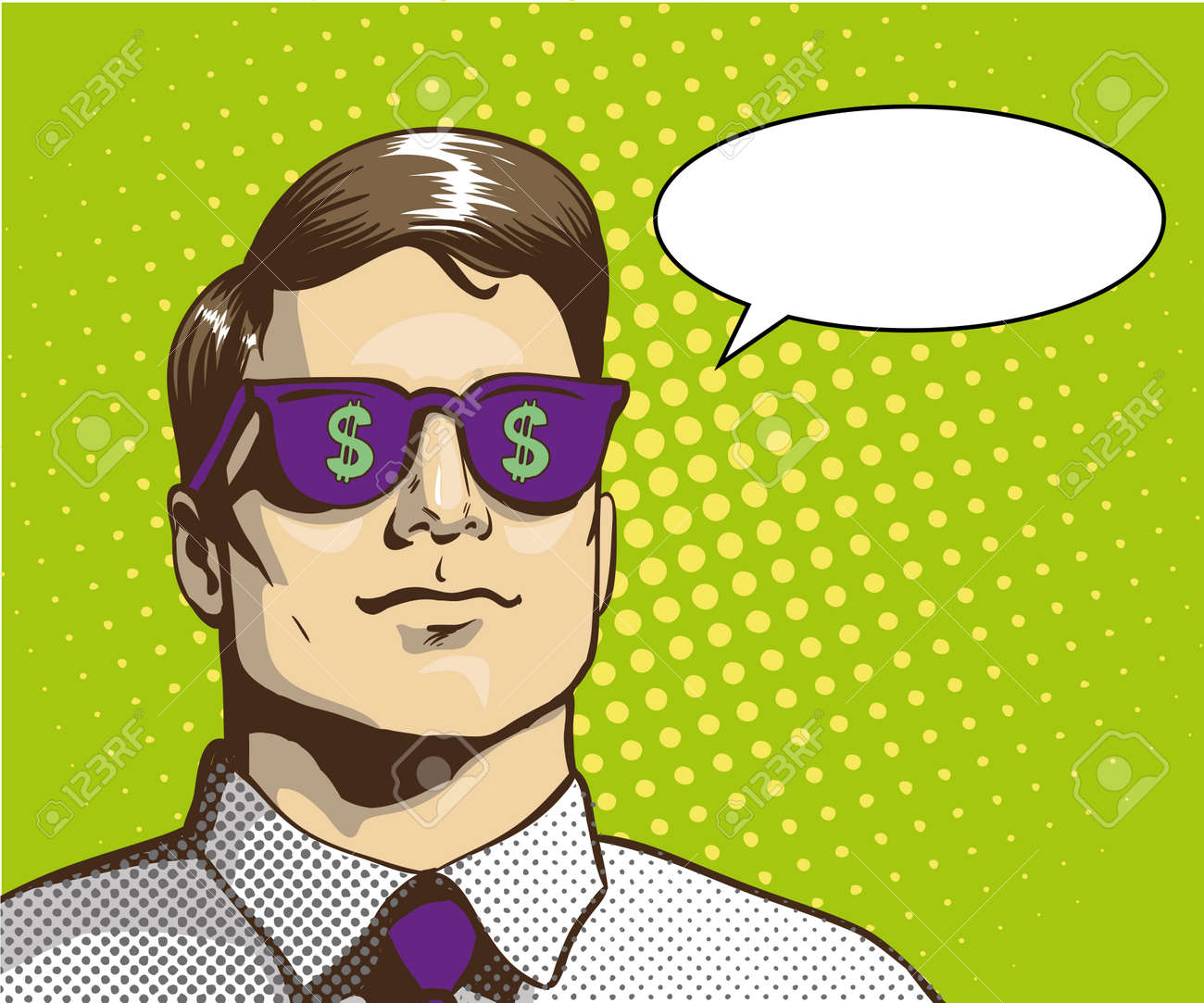 f9b2d29b50f8 Man with sunglasses with dollar sign. Vector illustration in retro pop art  style. Business