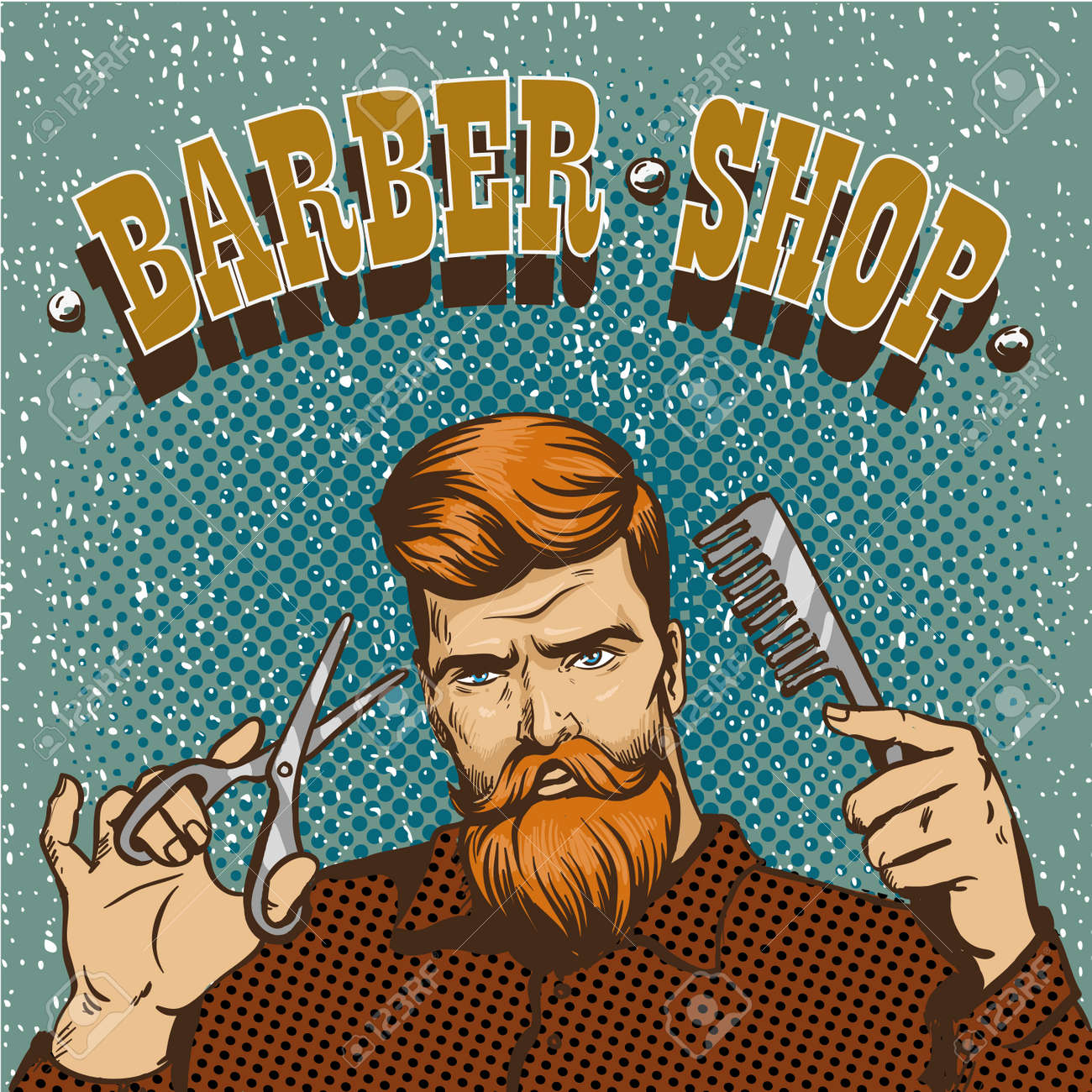 Barber Shop Vecteur Affiche Illustration. Hipster Styliste ...
