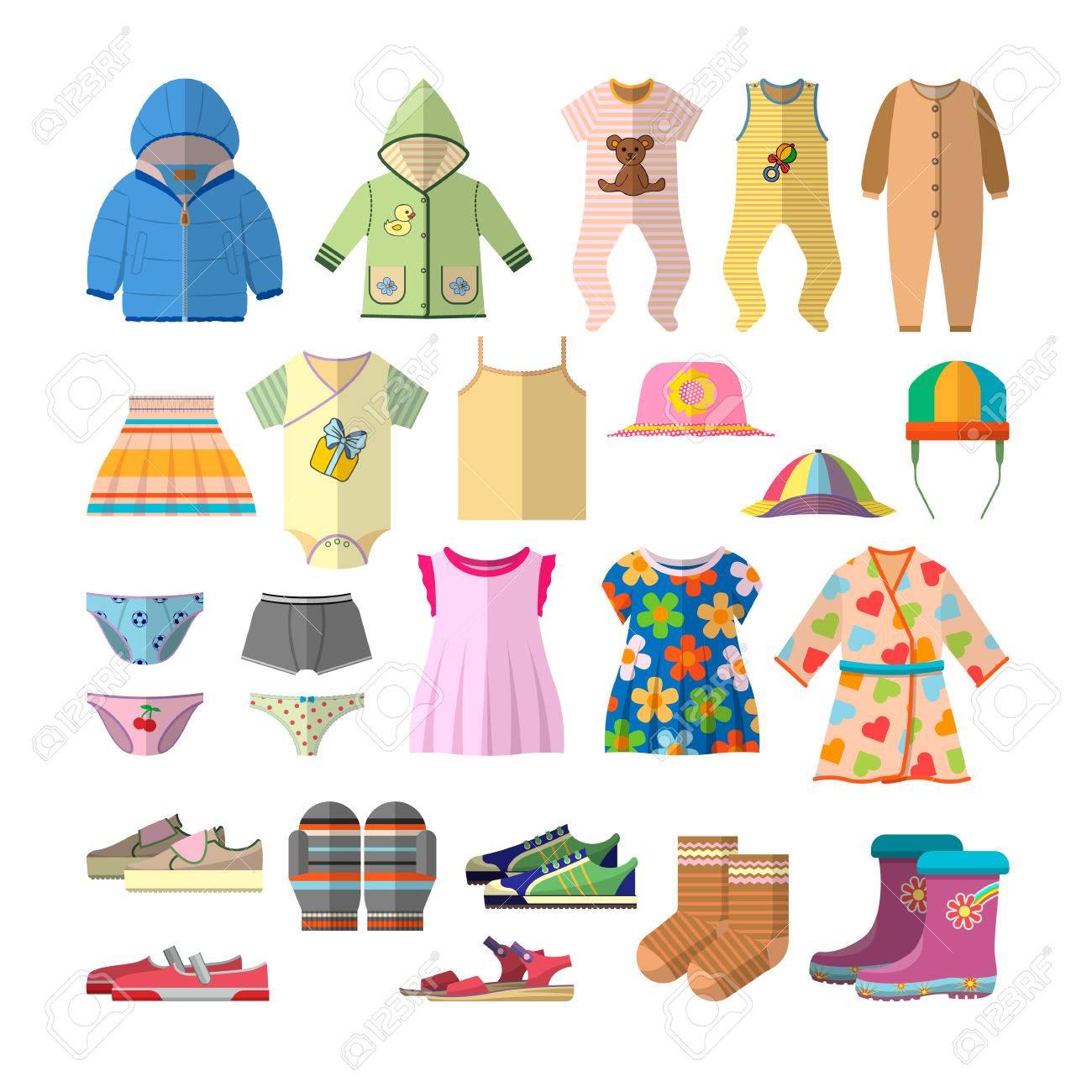 483d3ac48 Foto de archivo - Vector conjunto de ropa de bebé en estilo plano. Ropa  para niños colección de iconos y elementos de diseño.