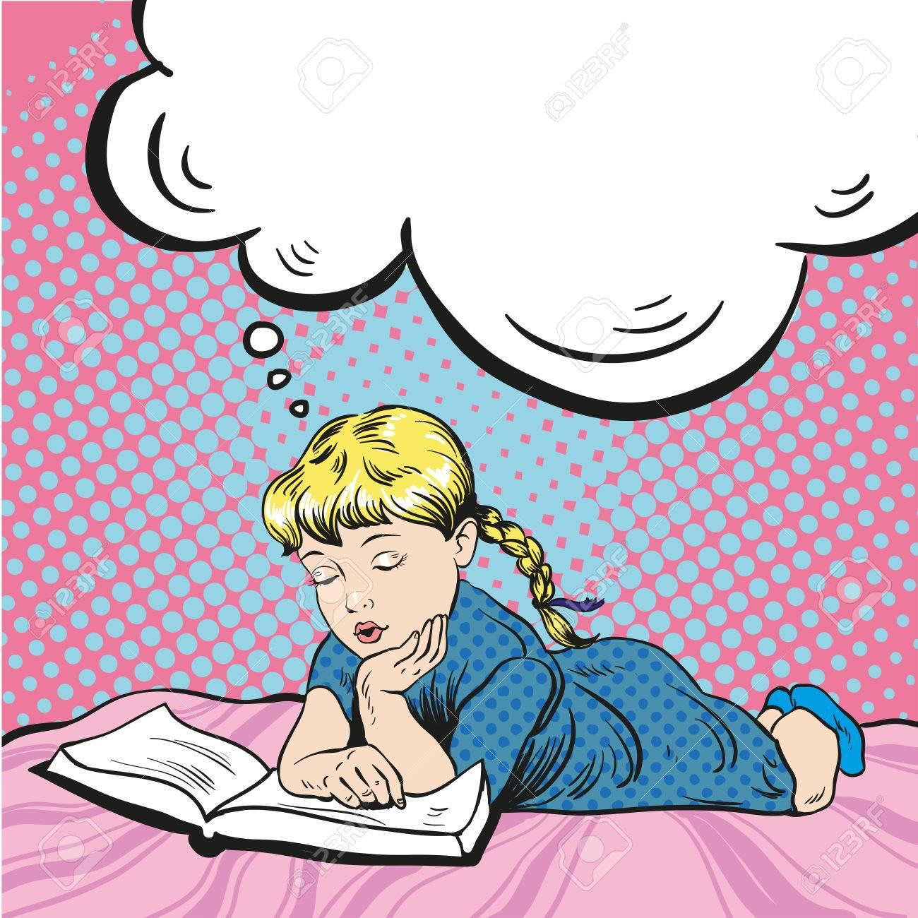 Kleines Madchen Auf Einem Bett Buch Zu Lesen Vektor Illustration Im