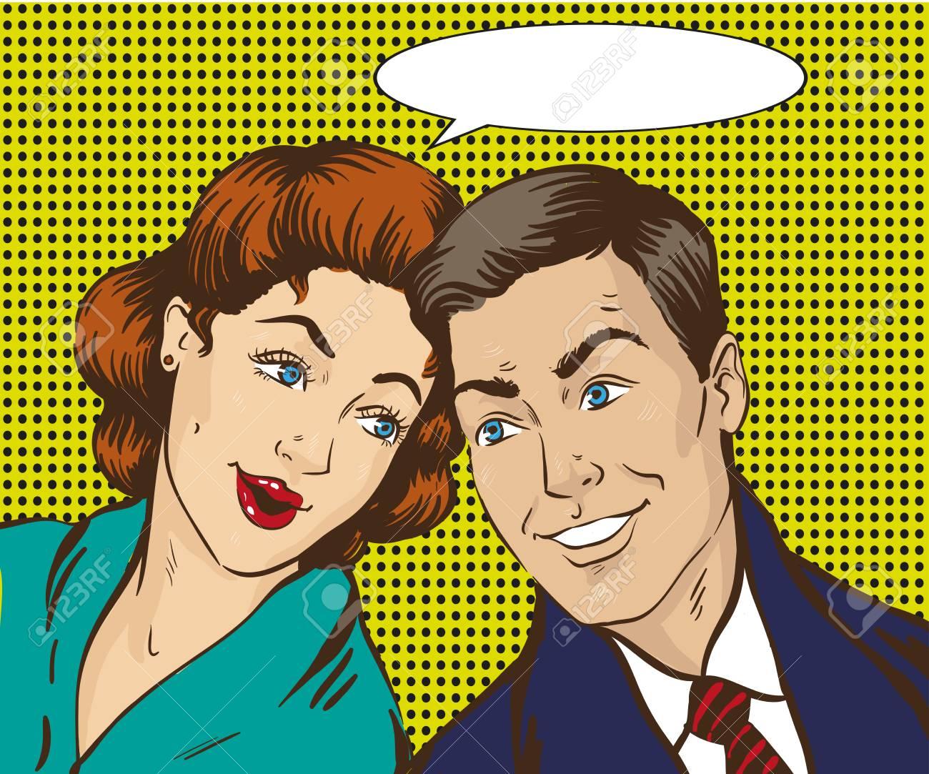 ポップなアート スタイルのベクトル図です。女と男は互いに話します ...