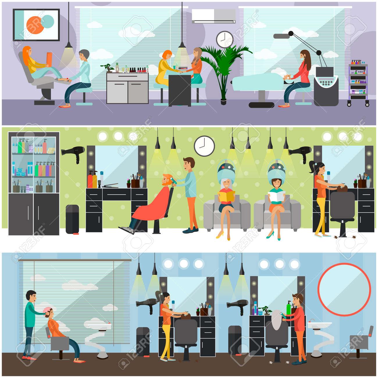 Salón De Belleza Concepto Interior Vector Banners. Corte De Pelo ...