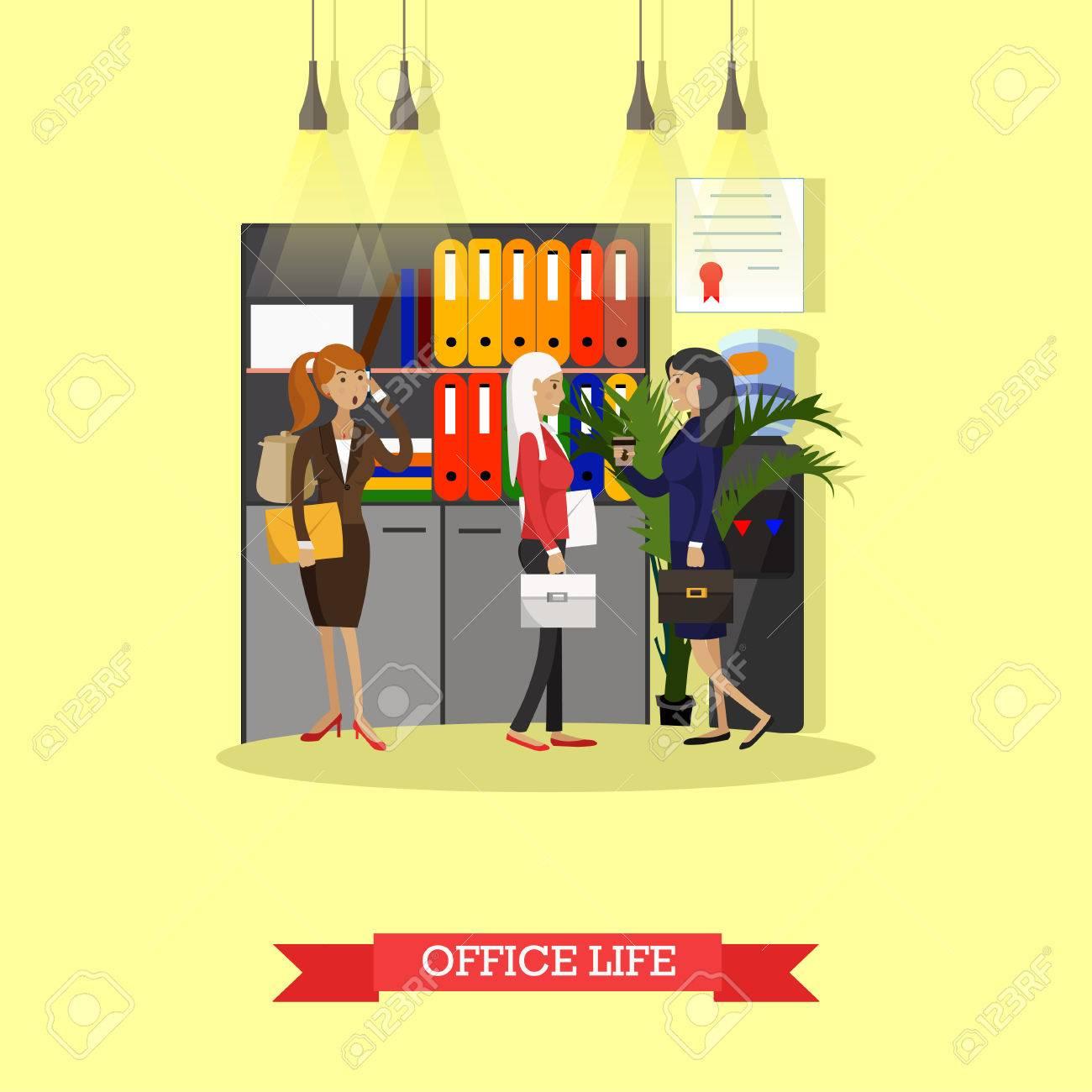 Office-Leben-Konzept Vektor-Illustration In Flachen Stil ...