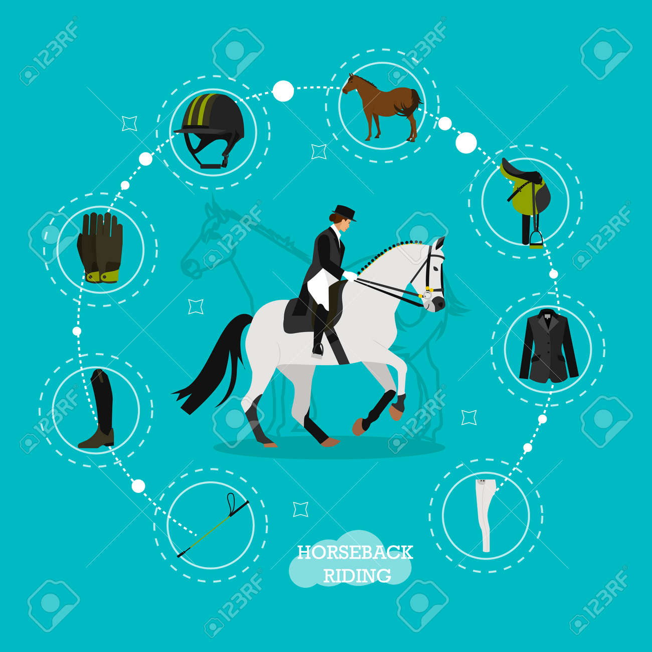 Vector Concept Illustration On Horse Riding Theme With Set Icons