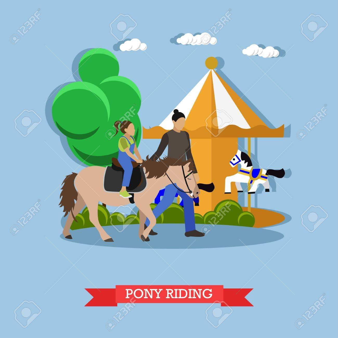 Hostler Lehrt Kinder Pony Am Vergnügungspark Zu Reiten Hinter Ihnen