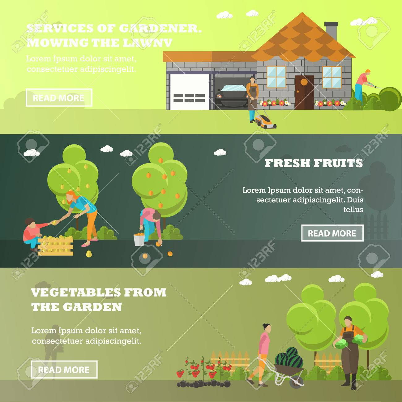 Vector Banners Of Garden Activities. Take Care Of The Garden, Mowing Lawn,  Picking