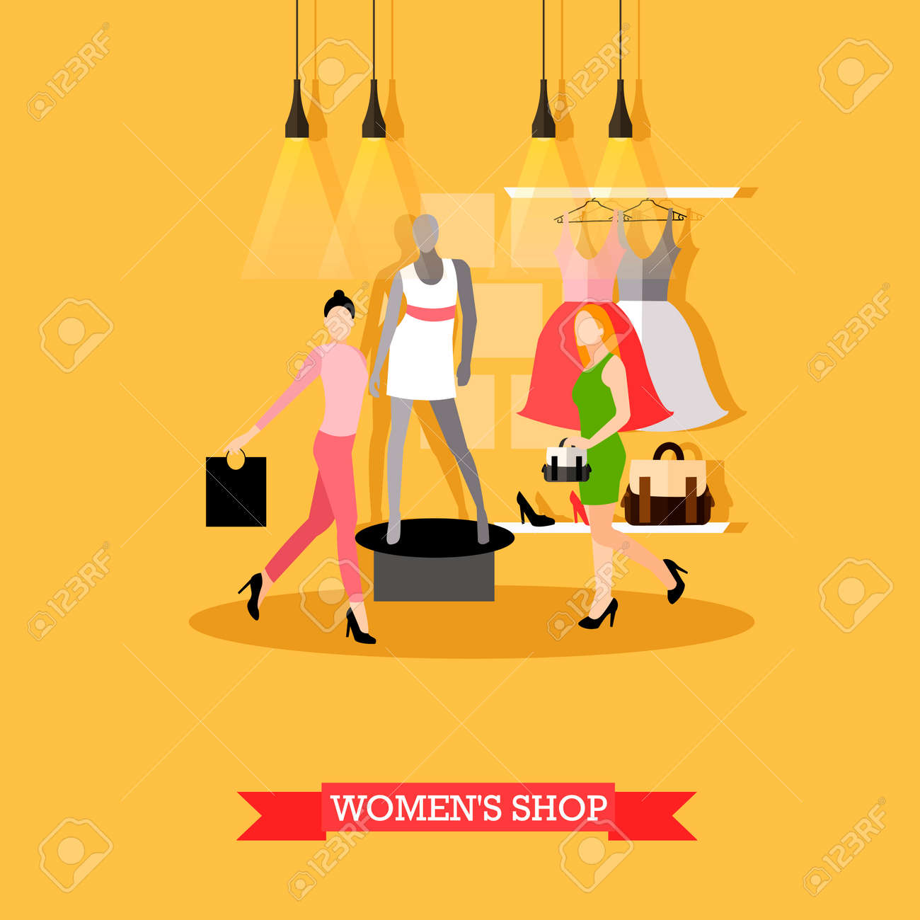 9d38ae913 Vector - Vector illustration of womens shop in flat style. Women shopping,  mannequin in casual summer clothes, dresses on hangers.