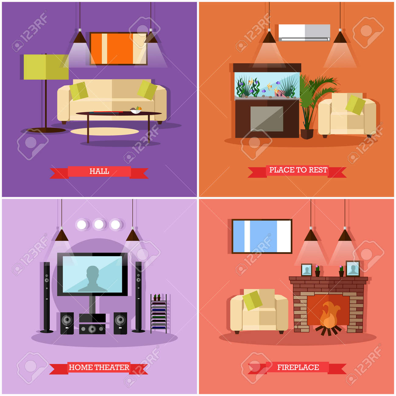 Vector Set Of Posters Banners With Home Interior Design Elements In Flat Style Place