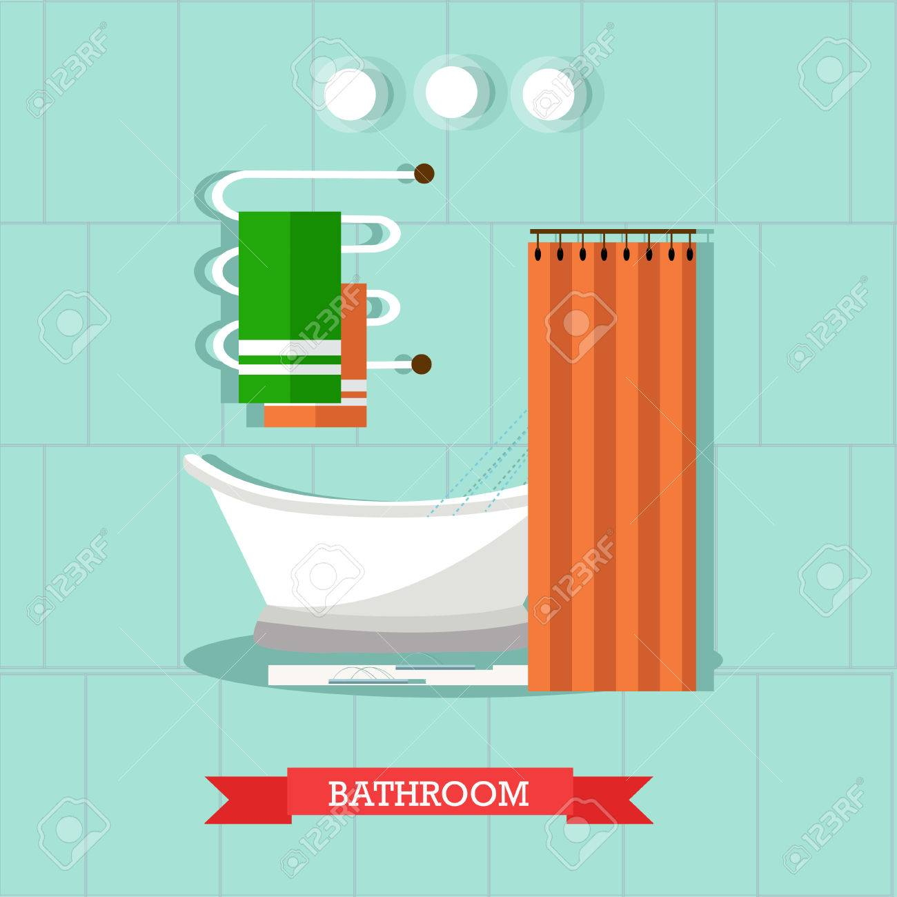 Bathroom Interior With Furniture. Vector Illustration In Flat ...