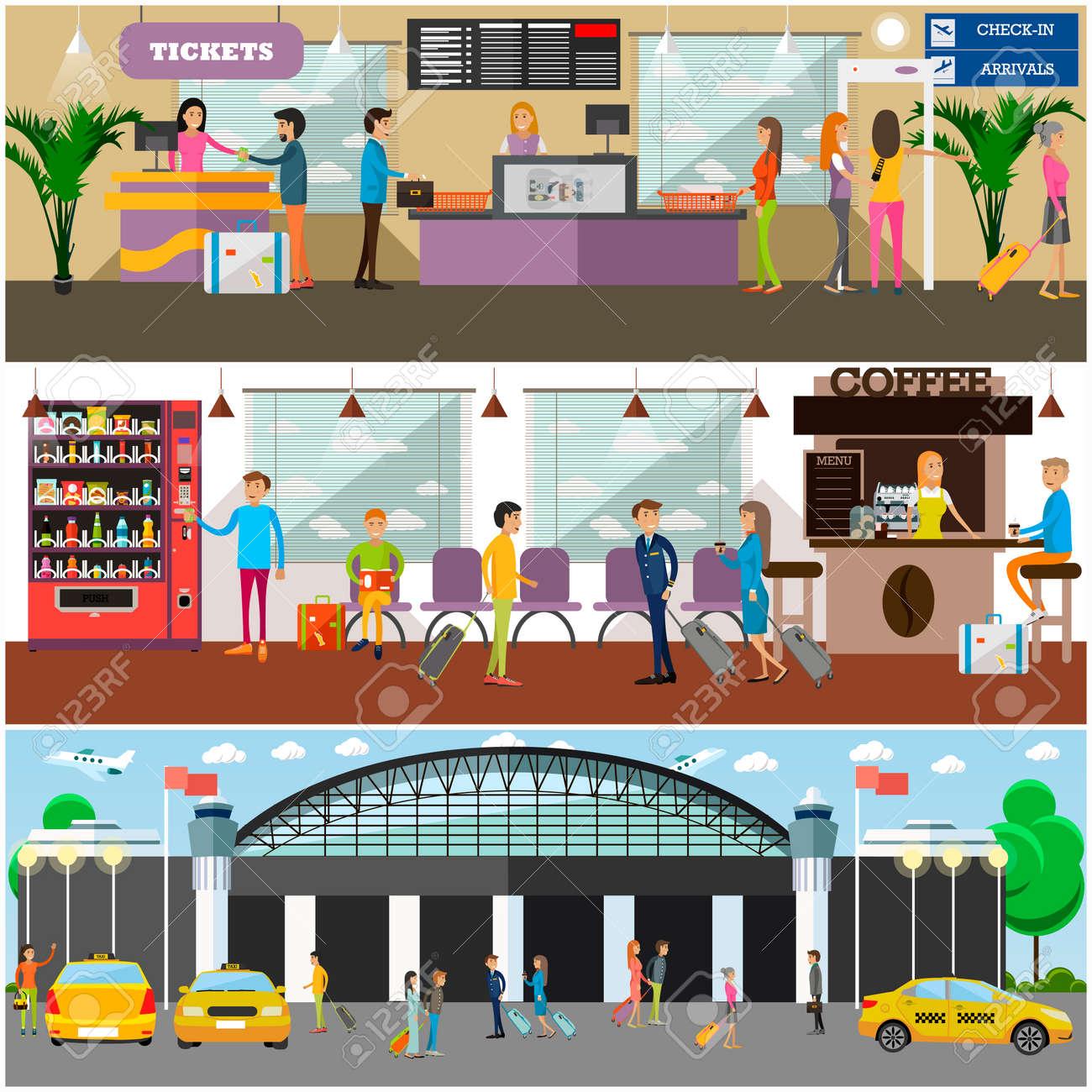 Vektorsatz Flughafenkonzeptposter, Fahnen. Flughafenterminal, Café ...