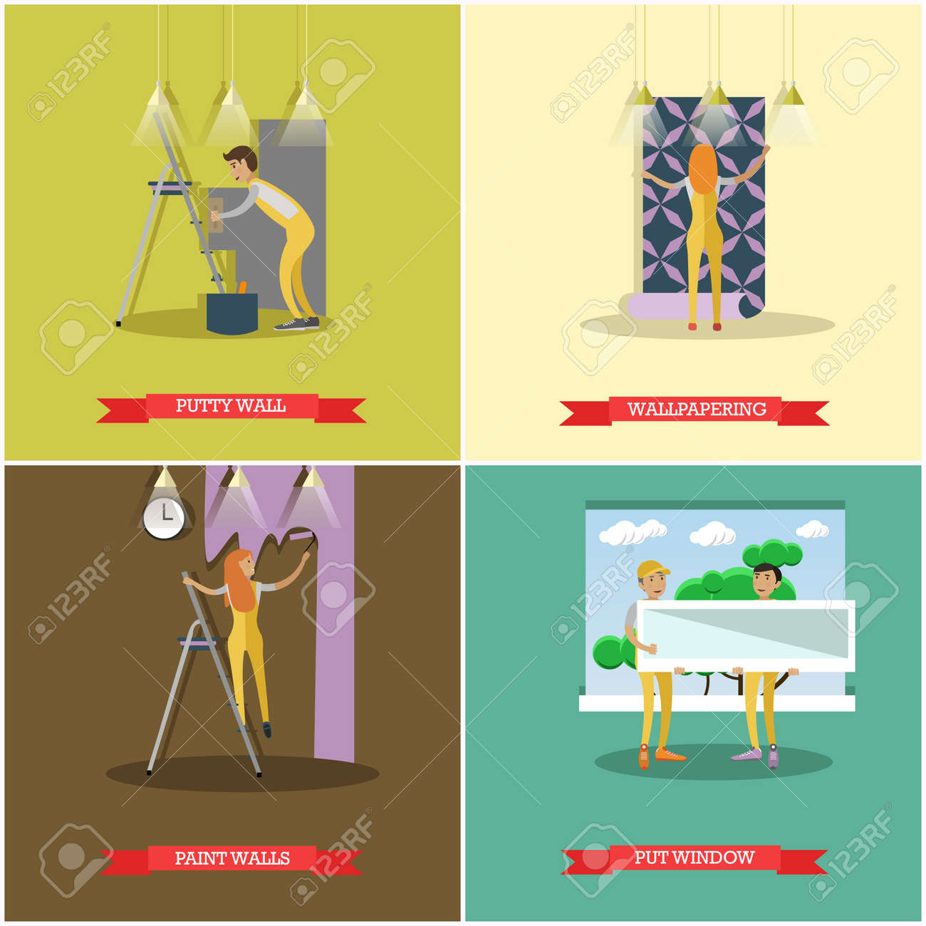 Vector Set Of Construction And Repairing House Concept Posters ...