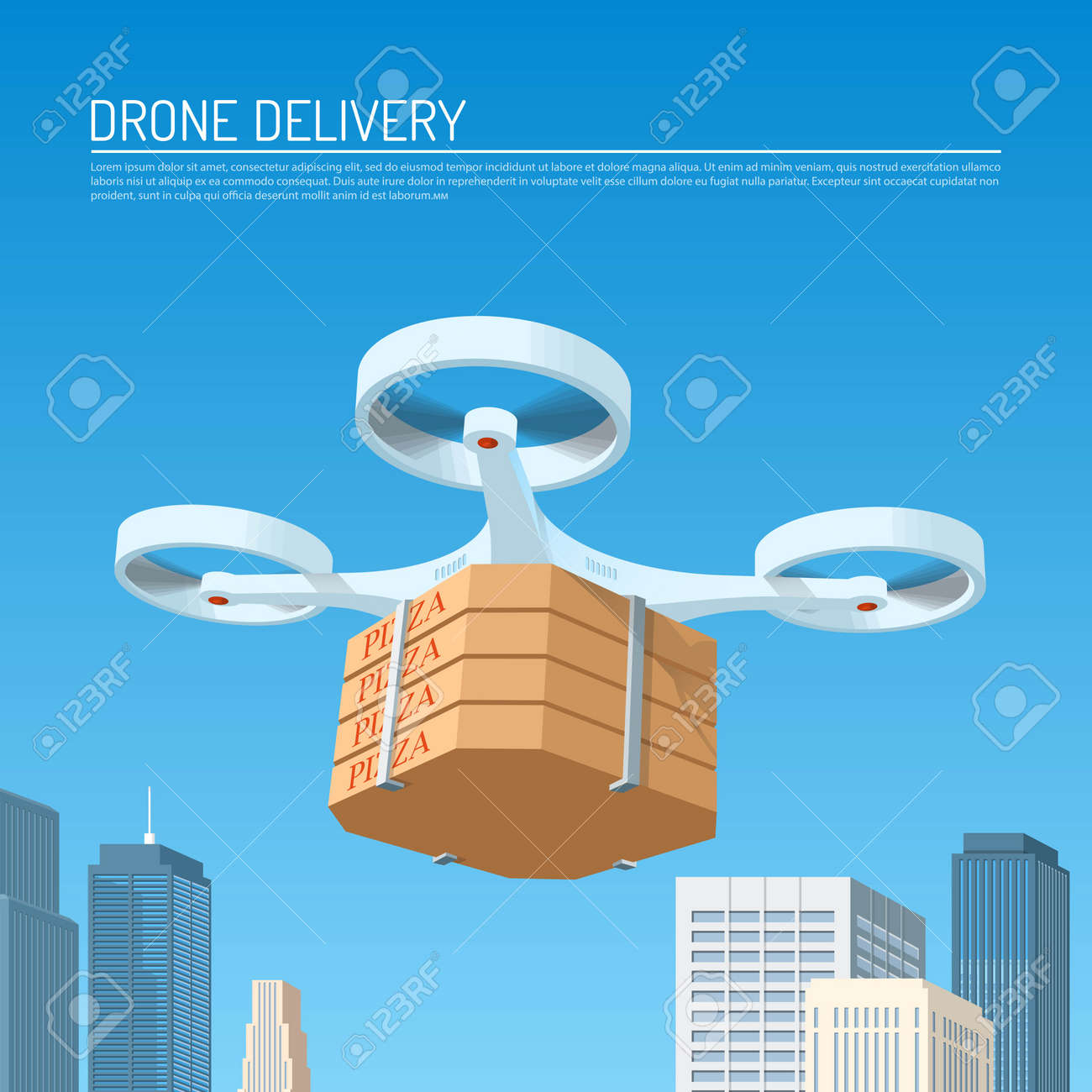 Drone delivery concept vector illustration  Quadcopter carrying