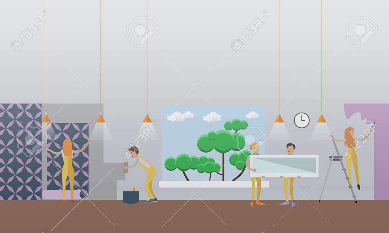 vektor-illustration der arbeiter kittend, malen, tapezieren wand