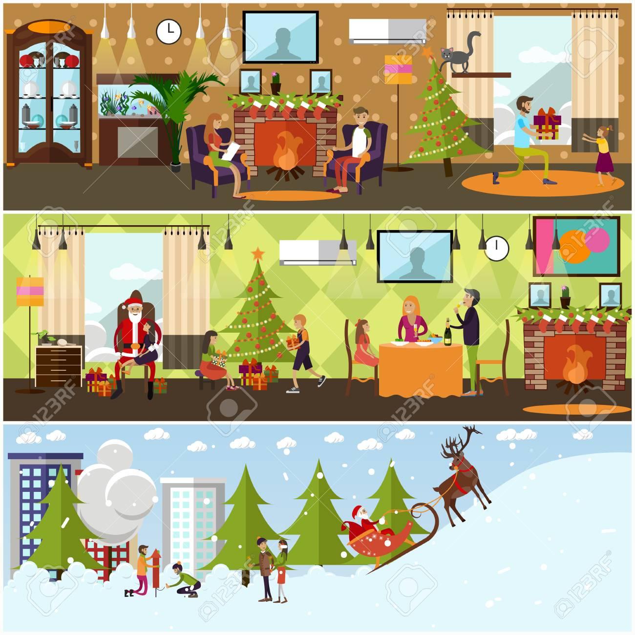 Du nouvel an intérieur de maison de vacances éléments de conception de paysage urbain hiver personnages de dessins animés temps de noël nouvel an