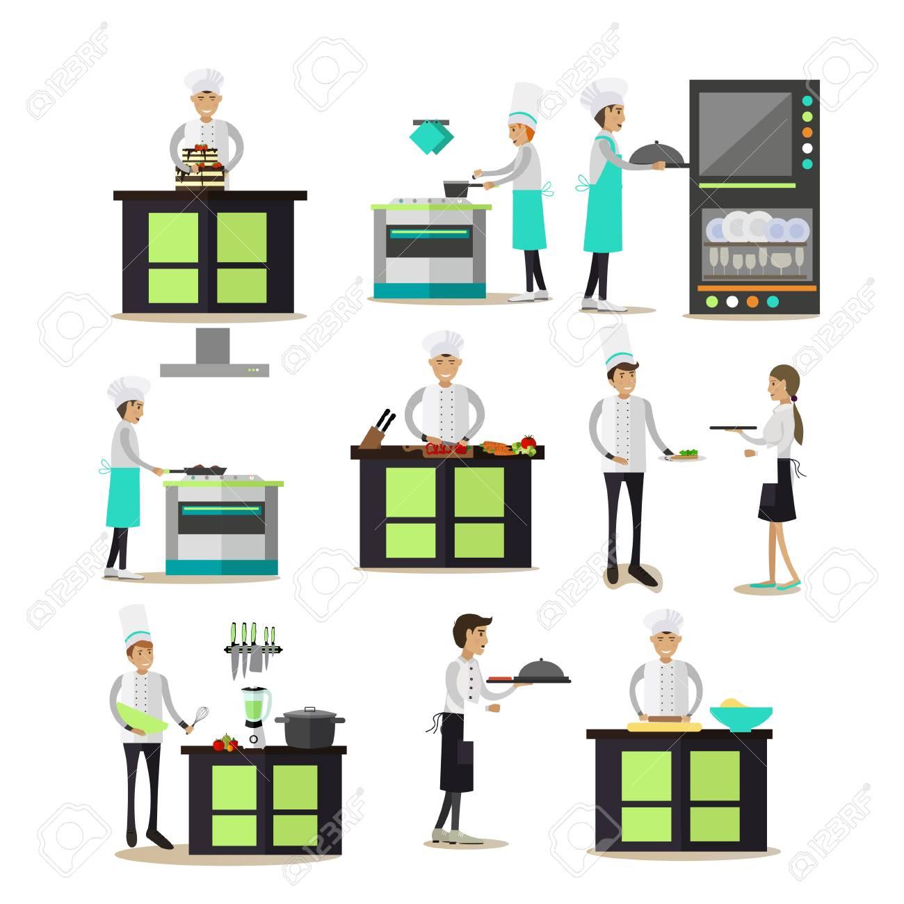 vecteur série d'icônes de gens de cuisine professionnelle dans un