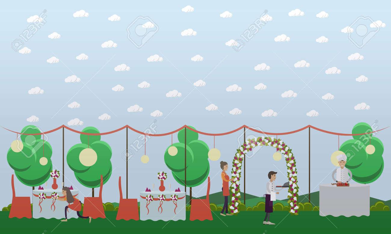 Vektor Illustration Der Jungen Frauen Schmucken Hochzeit Tabellen