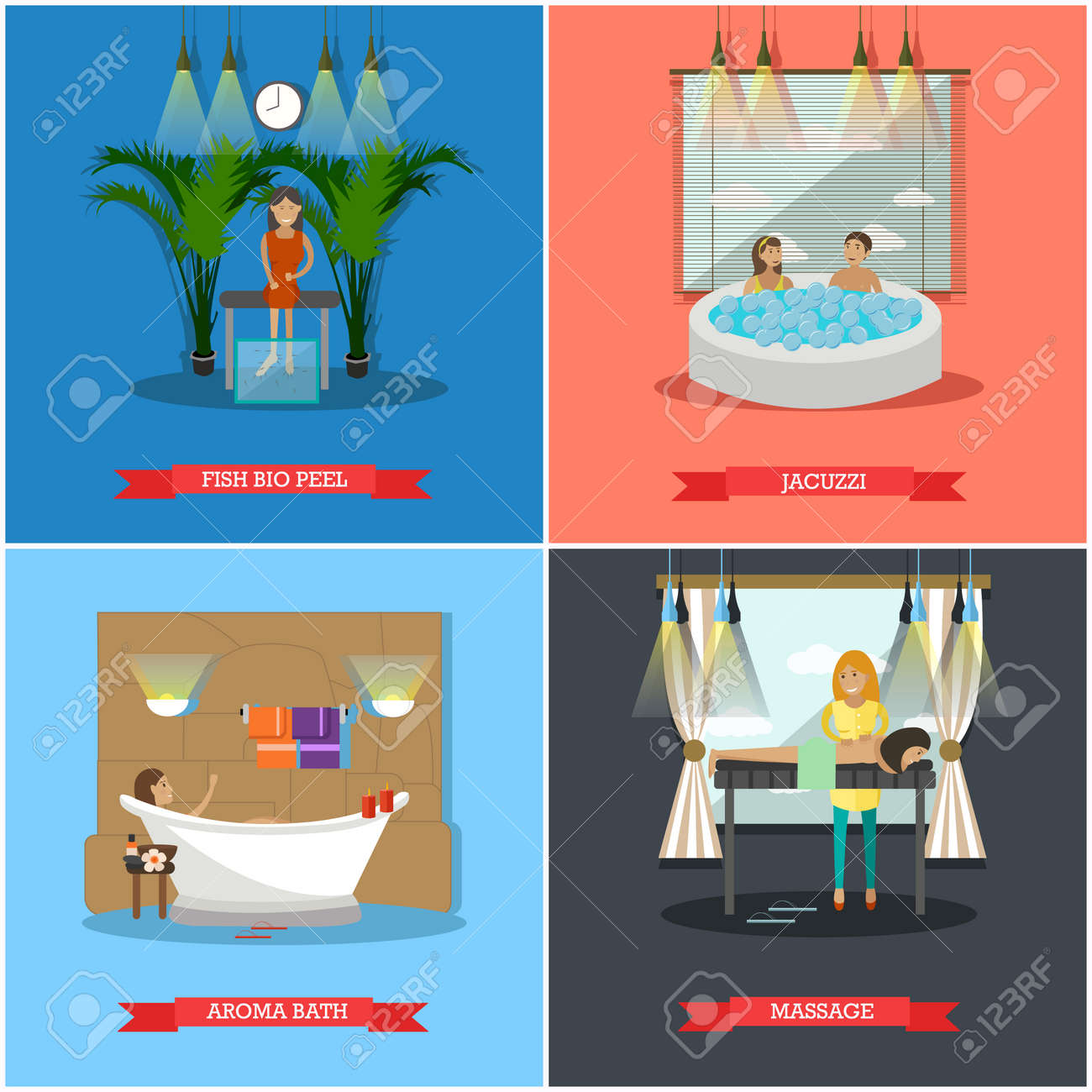 Vector Set Of Spa Therapy Concept Posters, Banners. Fish Bio ...