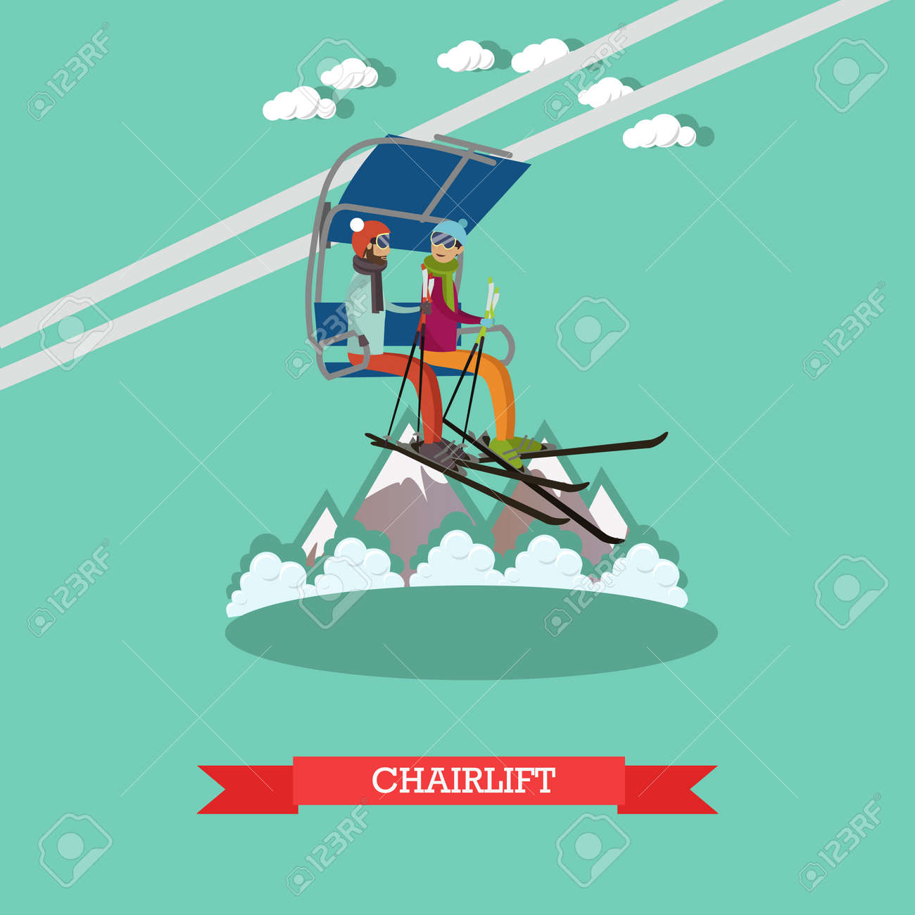 Vector Illustration Of Young Couple Going Up On Ski Lift. Downhill ...