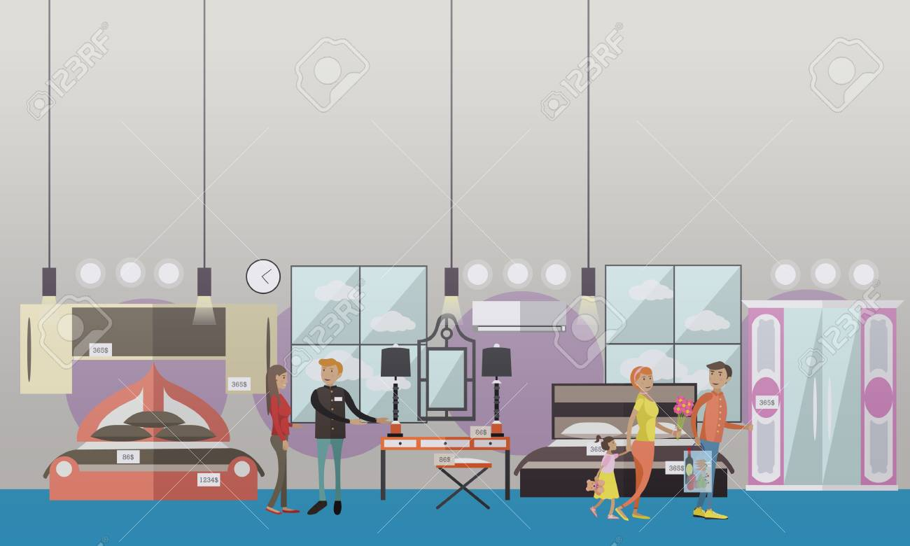 Vector   Vector Illustration Of Seller And Buyers Choosing Furniture For  Bedroom. Furniture Store Concept Design Elements In Flat Style.