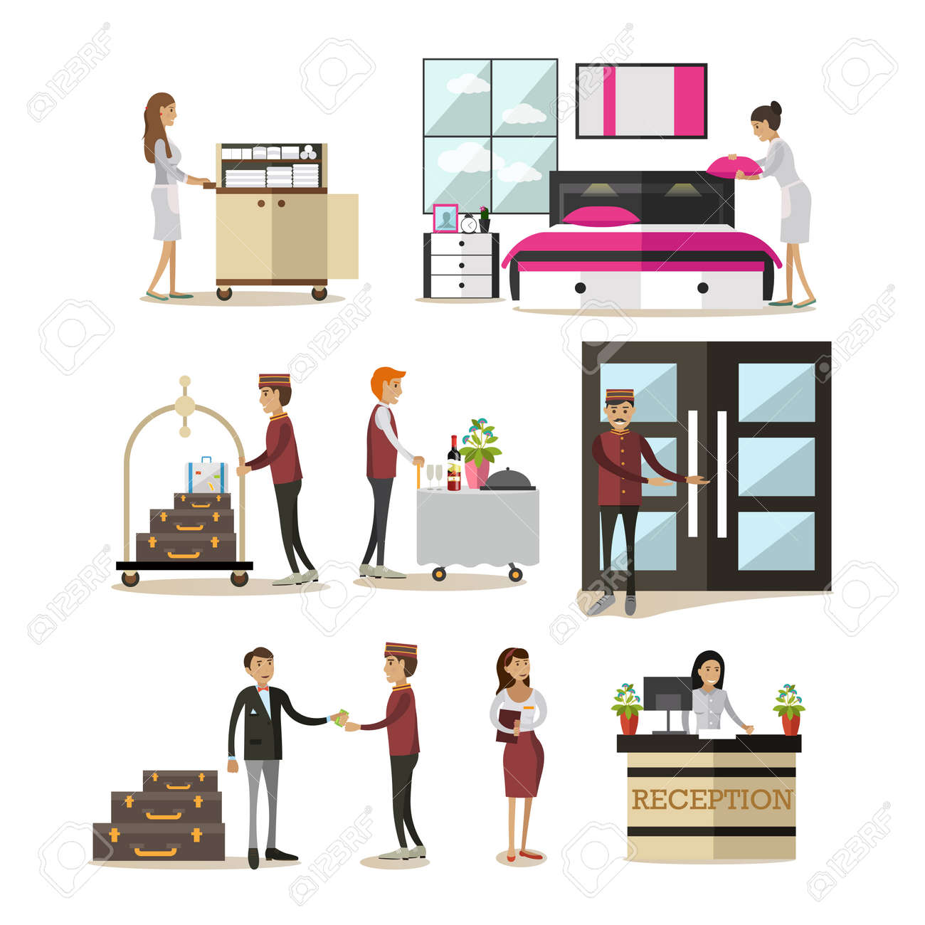 Vector Icons Set Of Deluxe Hotel Room Staff And Guests Cartoon Characters Isolated On