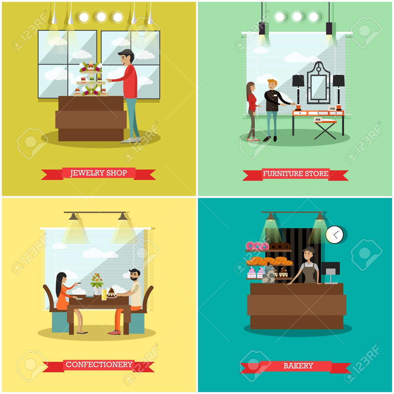 Vector Conjunto De Carteles Cuadrados De Tiendas Joyer A Tienda  # Muebles Cuadrados