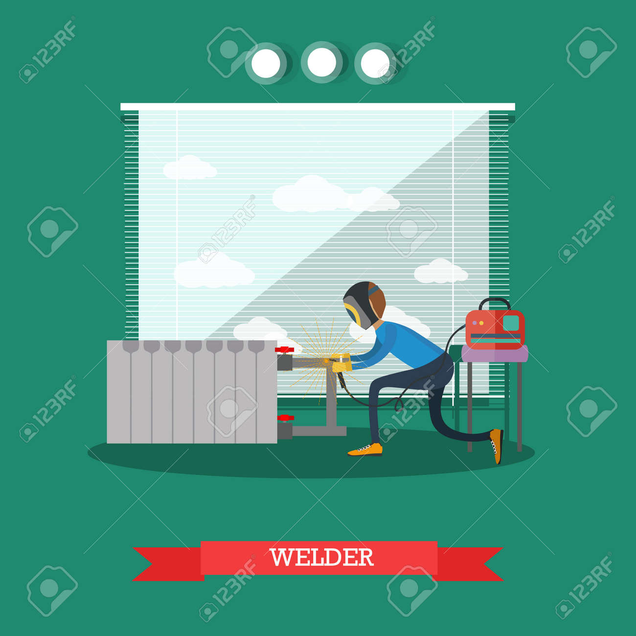 Vector Illustration Of Worker Assembling Or Repairing The Heating ...