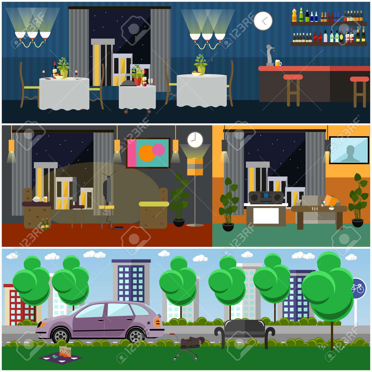 Wohnzimmer Restaurant, wohnzimmer, restaurant, café, bar-interieur, stadtstraße oder park, Design ideen