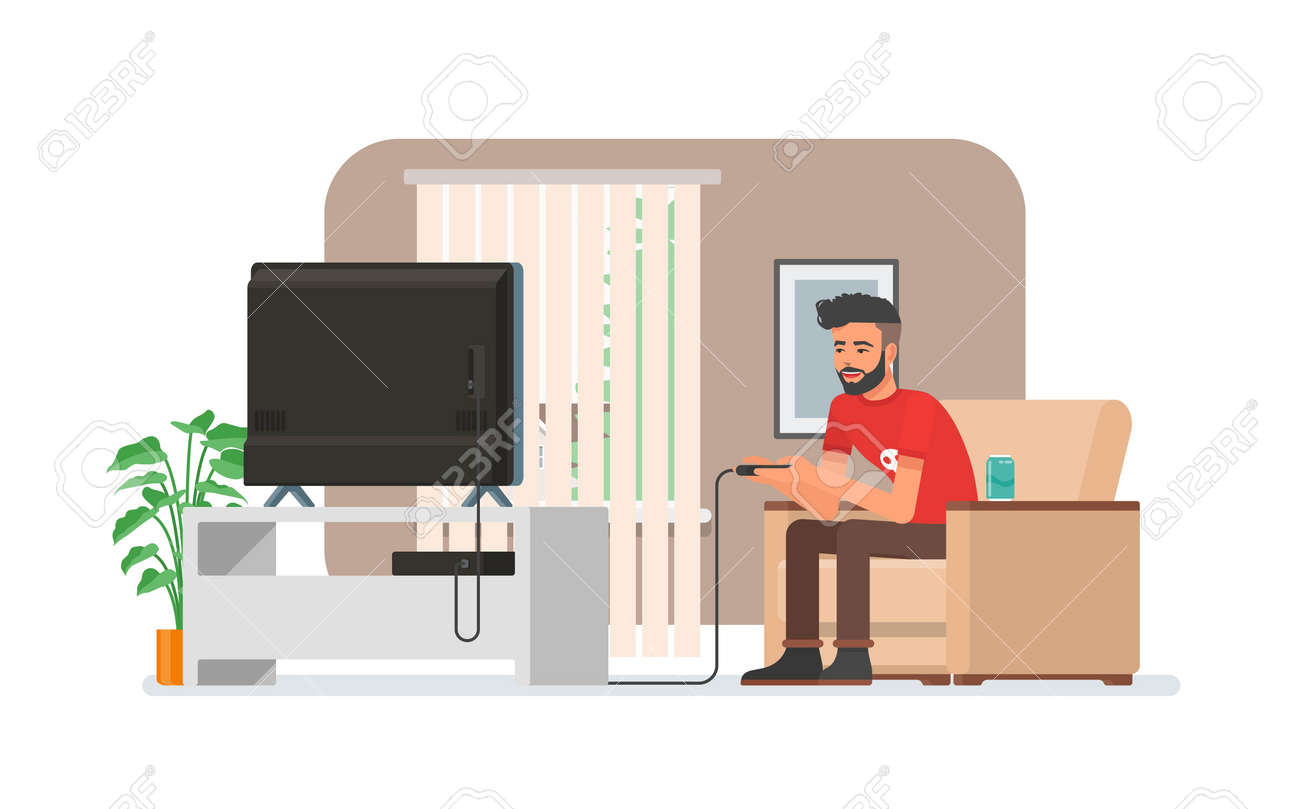 Smiling Man Playing Video Game Console At Home Vector  # Meuble Tv Ypster