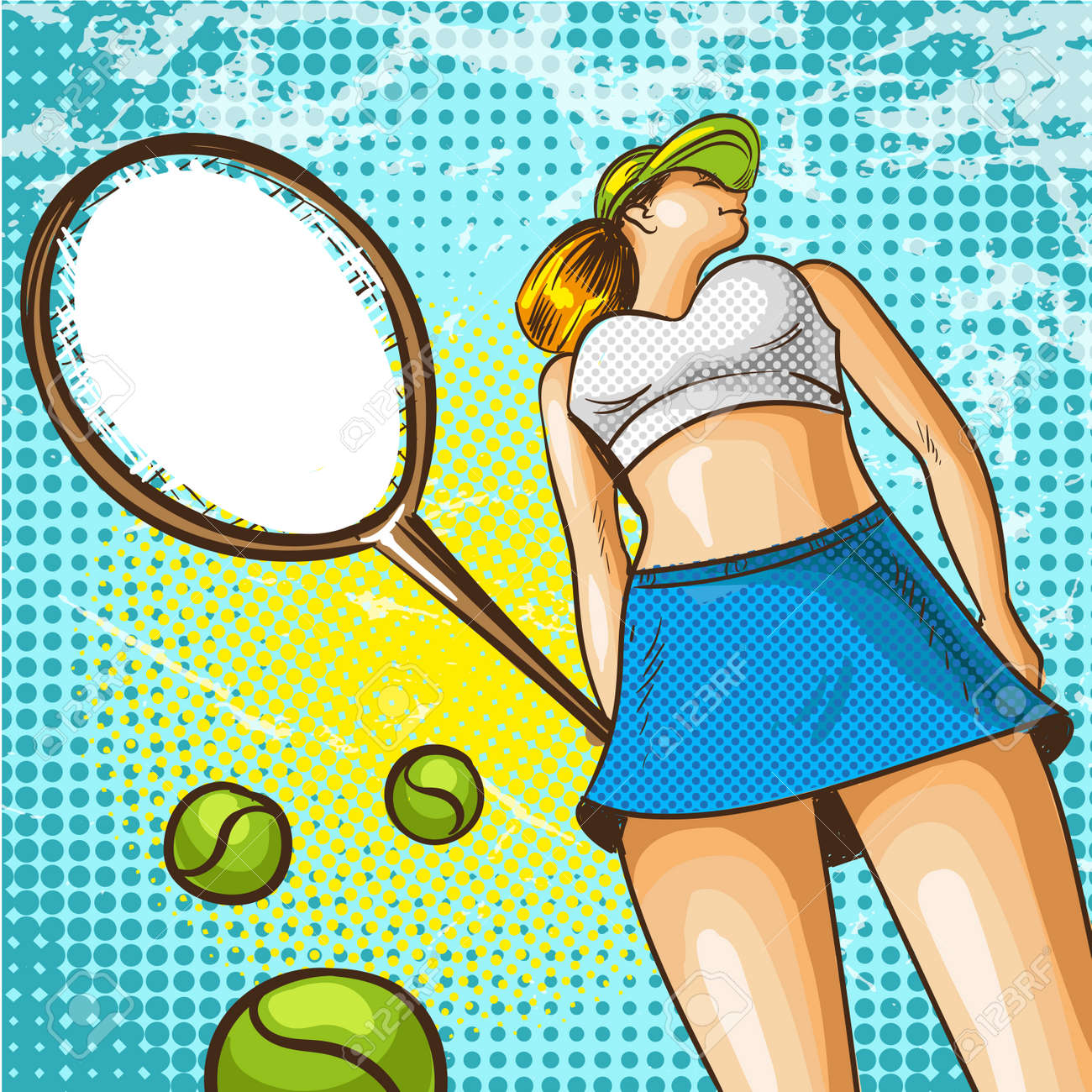 Beautiful Young Woman With Tennis Racket In Retro Pop Art Comic Royalty Free Cliparts Vectors And Stock Illustration Image 89981229